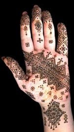 Mehndi designs on left hand palms