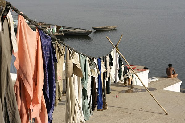laundry drying on bathing ghats