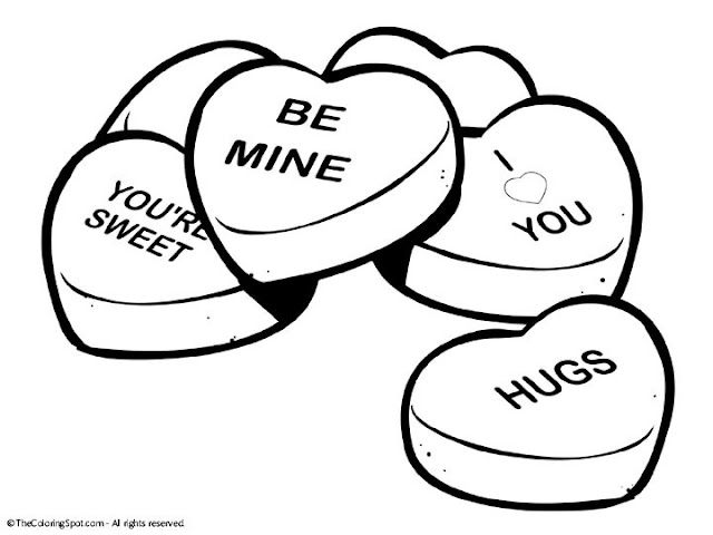 Conversation Heart Coloring Pages