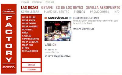 Estoy orgulloso transfusión Pendiente  Sport Padel: Tienda Varlion en el Factory de Las Rozas