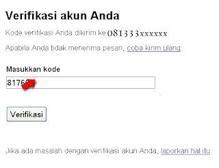 Verifikasi Pendaftaran Gmail dengan Nomor Handpone