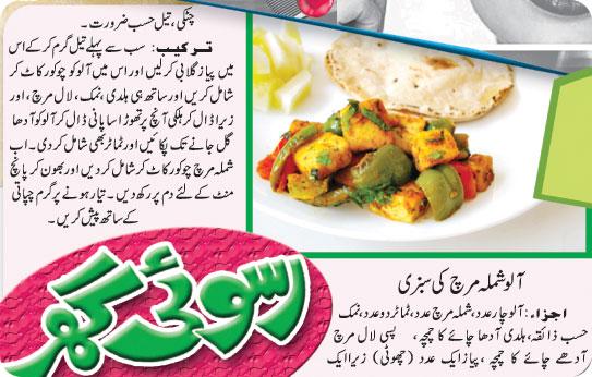 Recipes Box Aalo Shimla Mirch Ki Sabzi