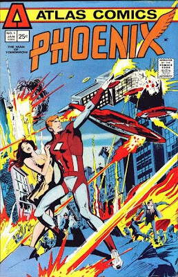 Atlas Comics, Phoenix #1, Phoenix fires rays at attacking flying saucers that are destroying Reykjavík, Dick Giordano cover