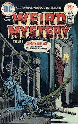 Weird Mystery Tales #17, a butler enters a hallway to encounter his employer who has been turned into a crocodile or alligator in clothing