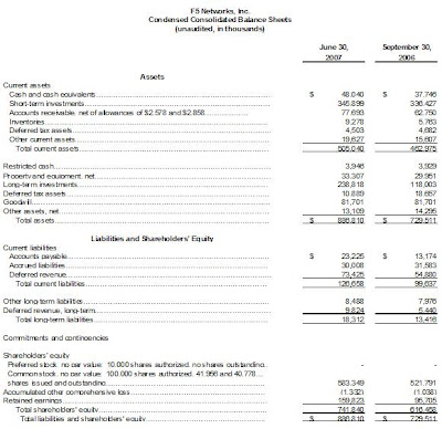 F5 third quarter balance sheet 2007