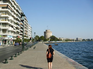 the White Tower, by the seaside in Thessaloniki