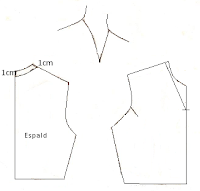 Este dibujo muestra como trazar el escote en V usando medidas deducidas