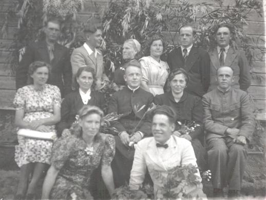 My Father (sits on the right) with others Catholics, Nowy Pohost, 1940