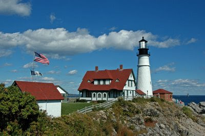 old glory flying at Portland Head Light