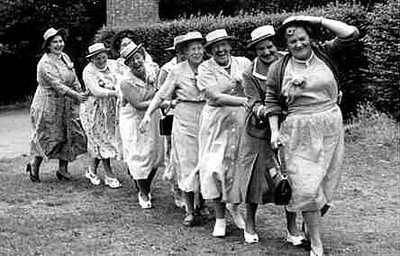a conga line celebration is best done with high heels, hats, handbags, and corsages; a string of pearls is optional