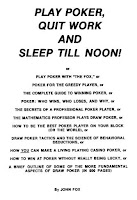 Title page of John Fox's 'Play Poker, Quit Work and Sleep Till Noon!'