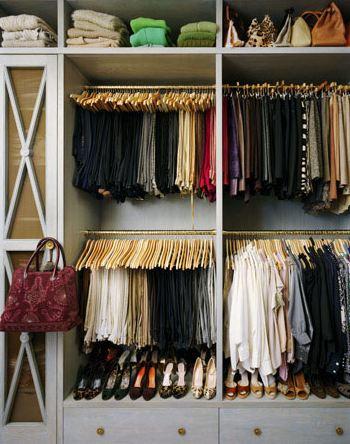 Well organized wall closet