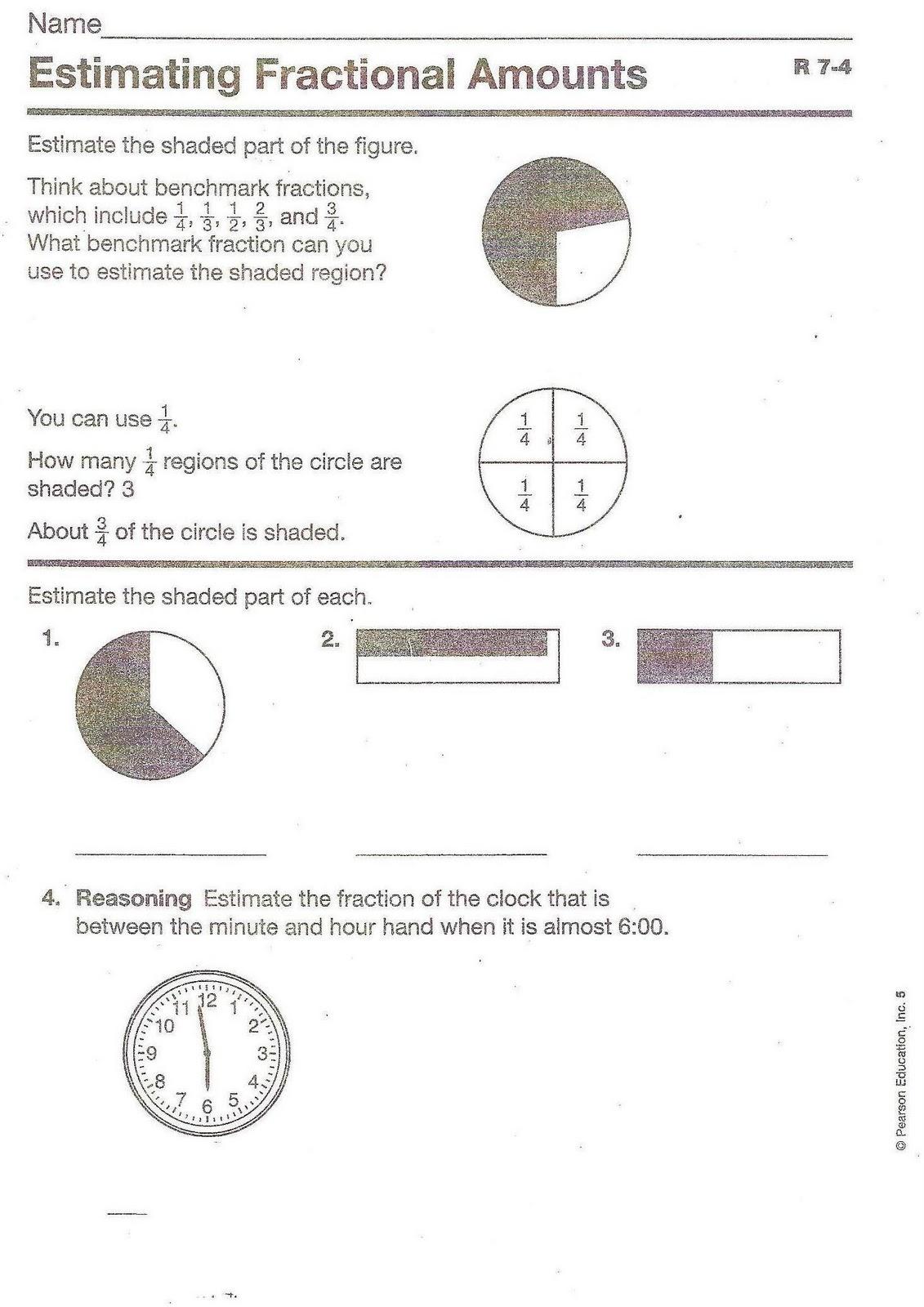 5th Grade At Sage Hills 7 4 Math Homework Estimating Fraction Amounts