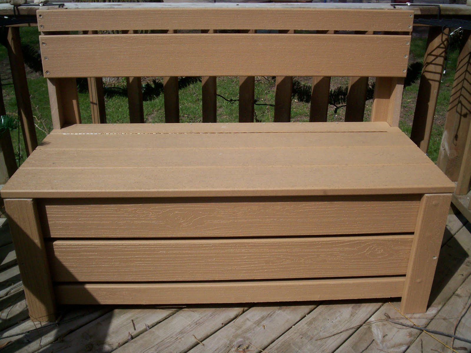This is the storage bench I made for our deck last spring. I use it to