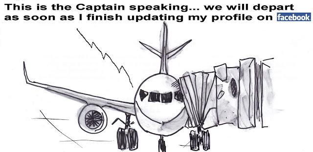 Flying on Facebook - a cartoon by F. Lennox Campello c.2009