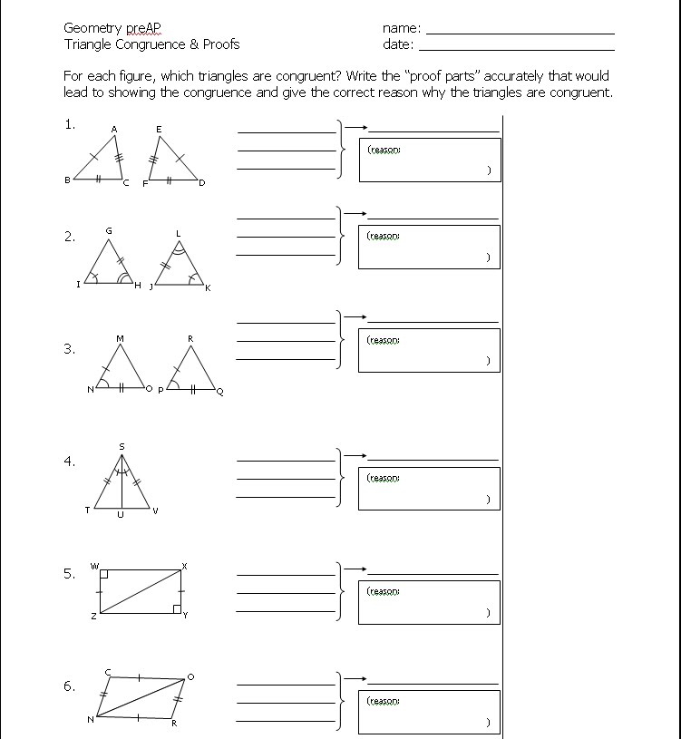 Congruent Triangles Cpctc Worksheet