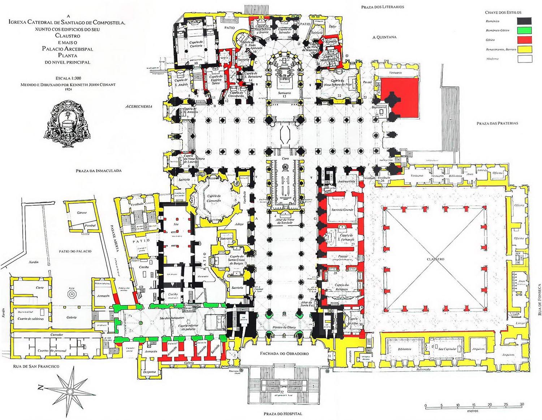 Plano Catedral Santiago De Compostela Según Estilos Arquitectónicos Históricos Blog De Lujo