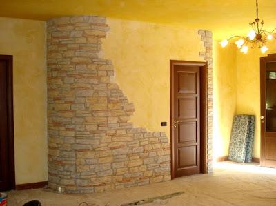 Claudio caruso decorazioni salone intonaco stampato for Pareti in pietra per interni foto