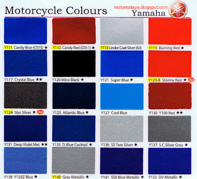 Yamaha Spray Paint >> MotoMalaya: Yamaha Motorcycles Colour Card by SAMURAI Paint