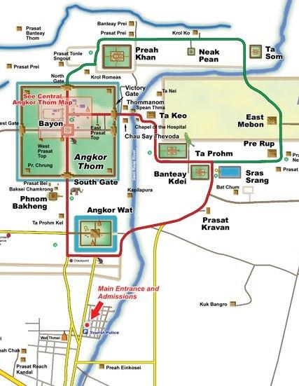 Itinerarios y recorrido por los Templos de Angkor