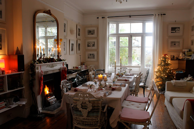 The living room at Christmas time...