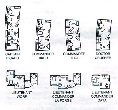USS Enterprise NCC-1701 D Quarters layouts Interiors - sample battleship game