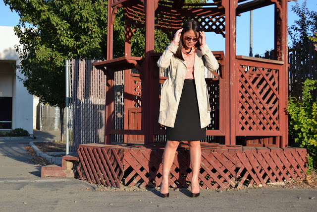 office fashion blogger jcrew shirt swapped black pencil skirt calvin klein pumps rampage trench coat
