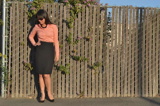 office fashion blogger jcrew shirt swapped black pencil skirt calvin klein pumps