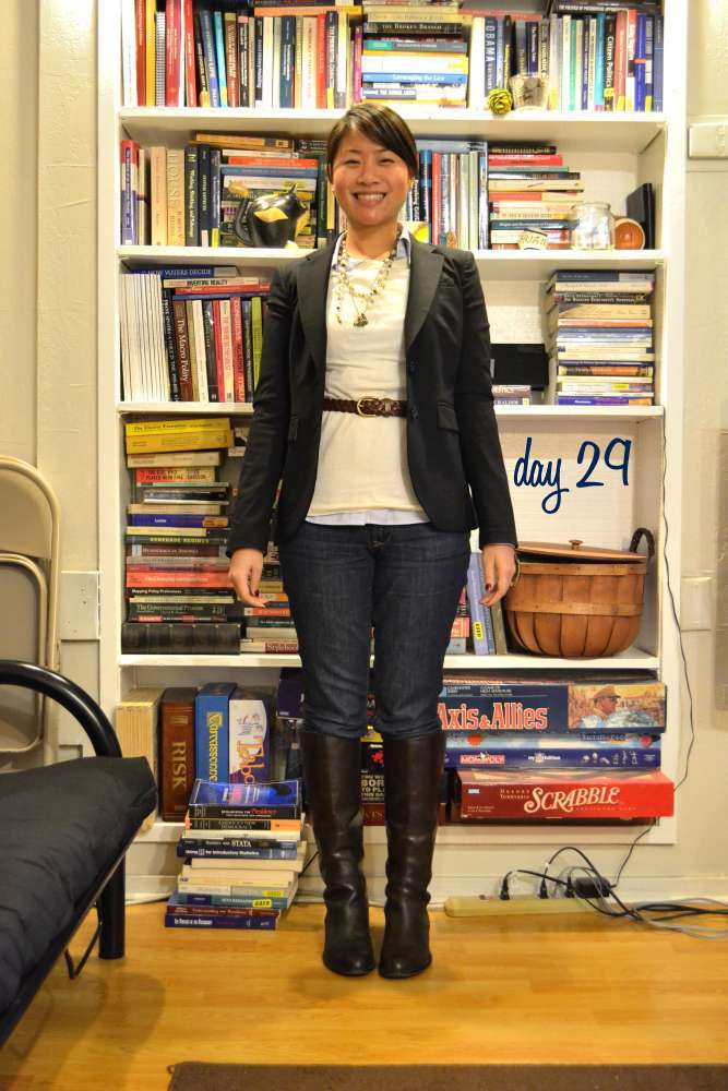 sacramento office fashion blogger angeline evans the new professional business casual friday skinny jeans franco sarto boots banana republic blazer layered necklaces