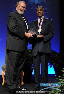 Bill Fritz and Oscar Moore at USTFCCCA Hall of Fame Induction, Photo courtesy Image of Sport