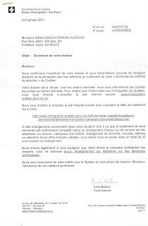 carta de abertura do Processo de Imigração do Quebec