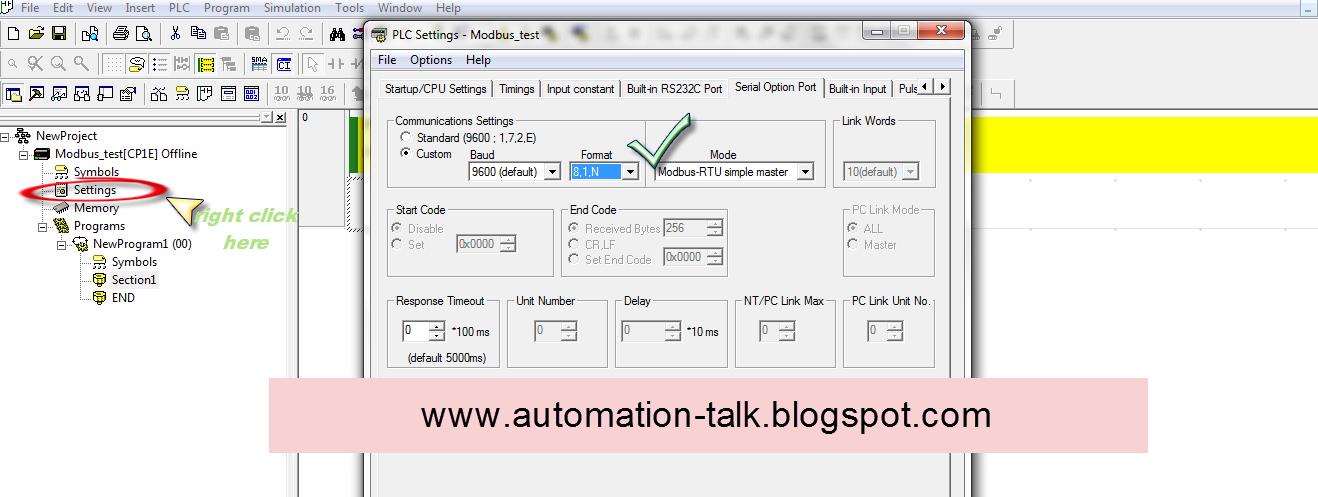 How to configure MODBUS in Omron PLC CP1E ~ Automation-Talk