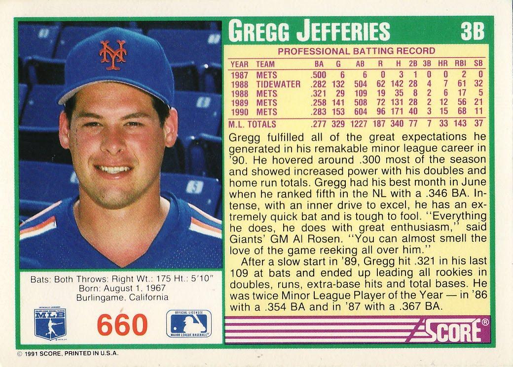 The Baseball Card Blog Al Rosen To Gregg Jefferies I Heart