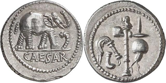 Denario Julio César elefante