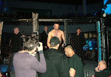 Rik Ellis exits the cage.