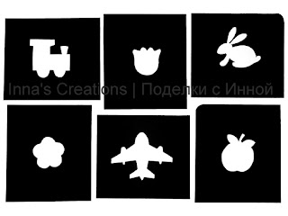 Stencils: flowers, steam-engine, aircraft, rabbit, apple