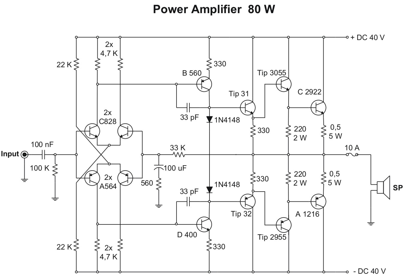 80 Watt Power Amplifier Circuit Wire Schematic Diagram Bly94 50w Rf 2009 Skema Rh Blogspot Com Transistor Ua741