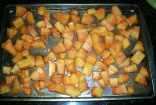 freezing papaya chunks