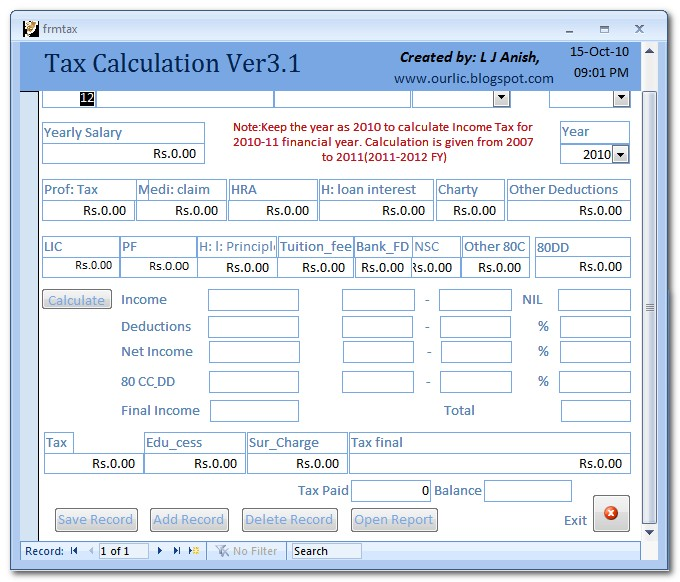 Income Tax Calculator For Any Year Up To - Ay 2016-17- Free