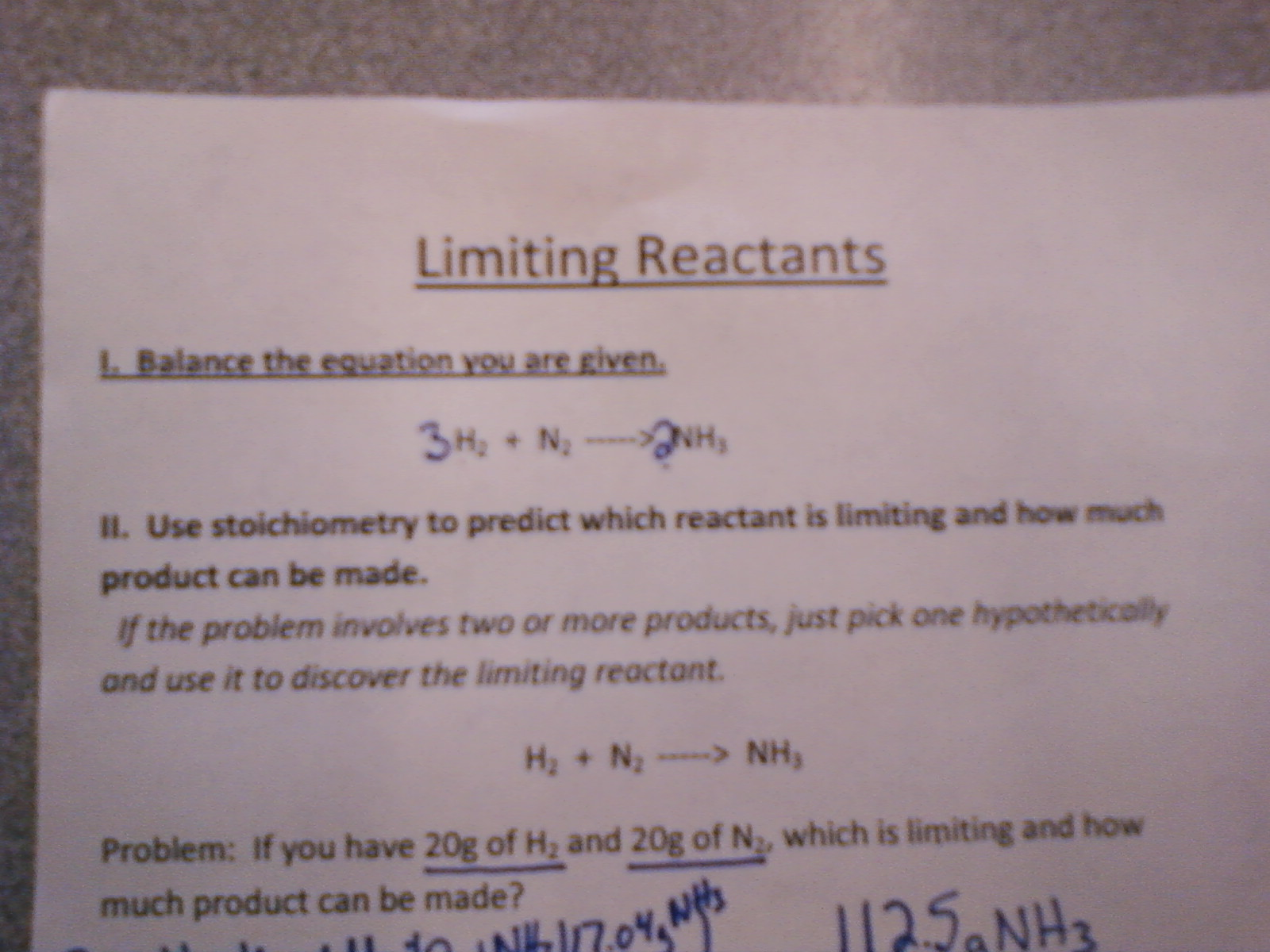 Worksheet Limiting Reactants