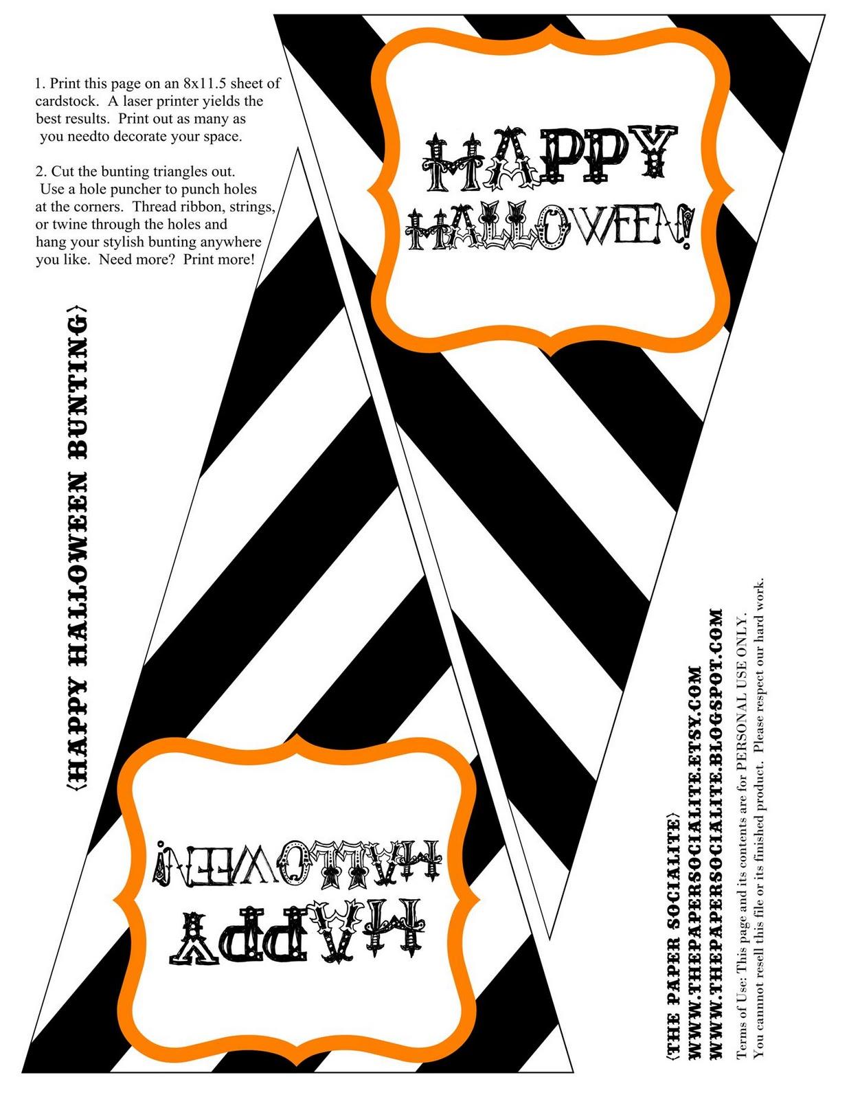 The Paper Socialite Freebie Halloween Bunting To Kick