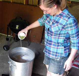 Audrey looks like she is enjoying adding the hops just a bit too much.