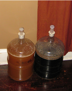 Petite Funky Saison on the left, and Dark Fruit Saison III on the right.