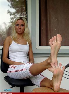 Barefoot mature women