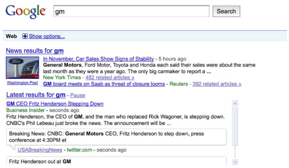 Google temps réel