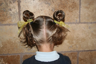 Back view of the Easter Hairstyles: Bunny-Ear Pigtails