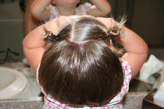 """Top view of young girl's hair being styled into """"twisty buns"""" hairstyle"""