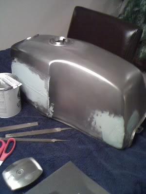 Drifting Whims: Motorcycle Tank Repaint - Bondo, Primer, Decals