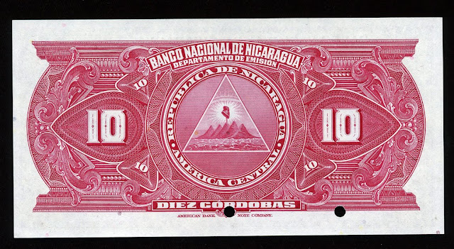 Nicaraguan money currency 10 cordobas banknote
