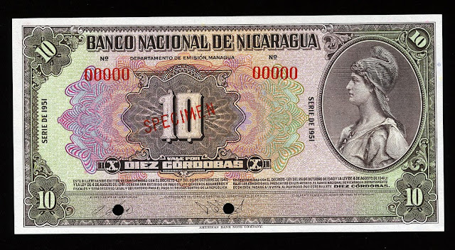 Nicaraguan cordoba banknotes American bank note company currency money